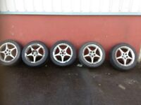"TOYOTA CELICA 16"" ALLOYS AND TYRES 5 X 100 SET OF 5"
