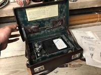 Old AEI Velometer & Accessories In Fitted Leather Case