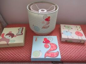 LAMP SHADE AND MATCHING PICTURES.