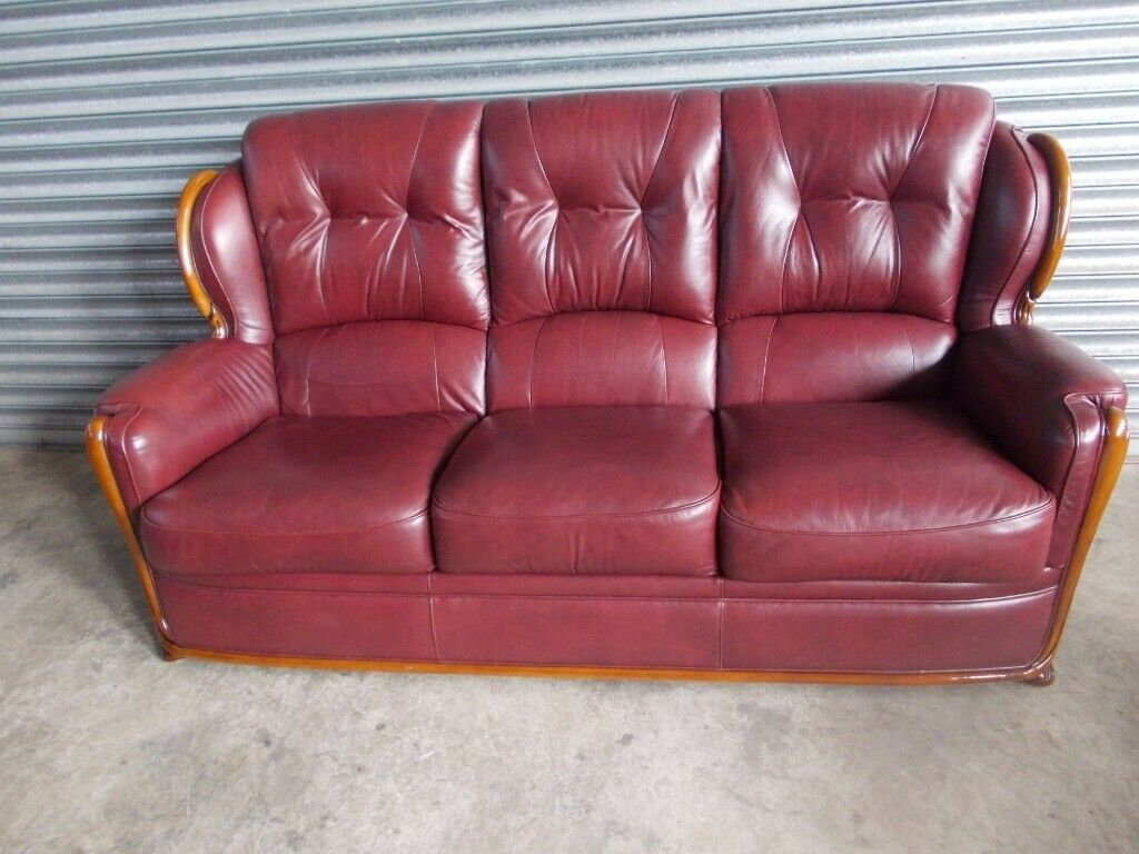 Enjoyable Burgundy Italian Leather 3 1 1 Suite Sofa In Belfast City Centre Belfast Gumtree Machost Co Dining Chair Design Ideas Machostcouk