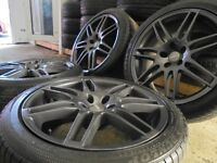 "18"" gunmetal s line rs4 alloys wheels fit audi a4 a3 a6 vw golf caddy seat leon fr 5x112 gti"