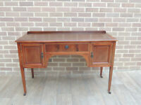 Hardwood + Burr Vintage Desk with Brown Leather Top (UK Safe Delivery)