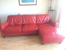 Red leather sofa L shape