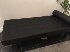 Habitat Eyre black leather day bed