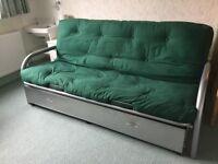 Metal Framed Futon Bed with slide out Storage Drawer