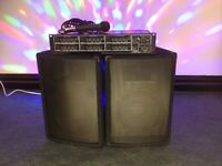 "Disco / PA system 2 x 10"" 250watt speakers plus a 250+250 amp and a microphone"
