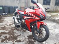 Honda CBR500R, ABS, Serviced only with Honda, few cosmetic dents