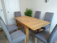 Harvey's Extendable Oak Dining Table & 6 Grey Chairs