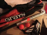 Hockey Stick with bag, pads and Balls.