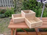 L CORNER PLANTER, WOODEN 3 CELL GARDEN FLOWER PLANTER, new handmade treated box. 22x100mm