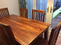 Real wood dining table plus 6 matching chairs