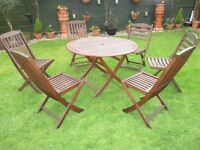 GARDEN SET HARDWOOD TEAK TABLE AND 6 CHAIRS