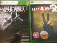 Xbox 360 Call of Duty Black ops 2 and Left 4 Dead 2