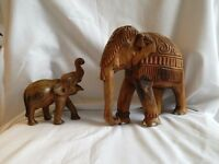 Set of Elephant Sculptures-- vintage, wooden, hand-carved --CHARITY SALE--