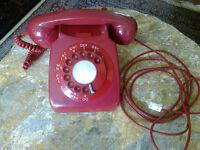Vintage RED ROTARY DIAL GPO TELEPHONE - MODEL 746GNA