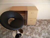 chair and draws and desk