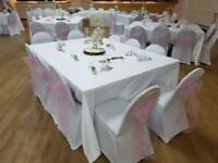 Chair cover plus sash hire £1, sweet cart and more
