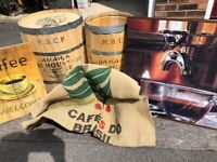Coffee Barrels, Pictures & bean sack