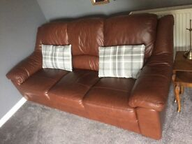 Brown leather sofa, 10 months old