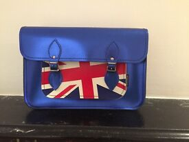 Brand new - Zatchels Satchel - metallic blue Union Jack
