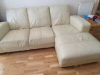 Corner Leather Sofa (Ivory Cream)