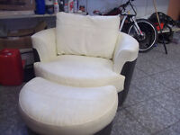 REAL LEATHER LOVE CHAIR AND STOOL COSTOVER £900 QUICK SALE £75