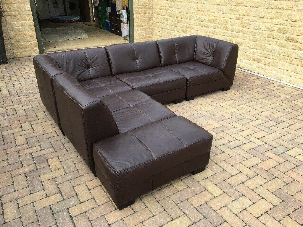 Brown Leather Modular Sofa In Lechlade Gloucestershire Gumtree