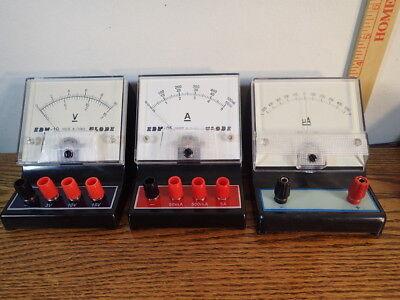 Lot Of 3 Vintage School Surplus Volt Ampere Meters Globe Edm-19  Edm-5 Ma