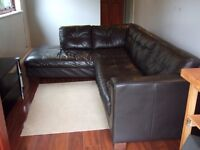 LARGE CORNER SOFA 250 x 200cms - DARK BROWN FAUX LEATHER - FIXED CUSHIONS - SMOKE & PET FREE HOME