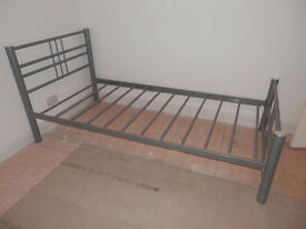 Single bed frame, metal, silver grey.
