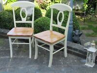 2 x Cream country farmhouse style kitchen chairs/dining chairs, sturdy, good quality chairs