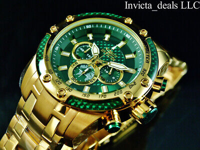 Invicta Men's 50mm SPEEDWAY SCUBA Chronograph Sapphire Green Gold Tone SS Watch