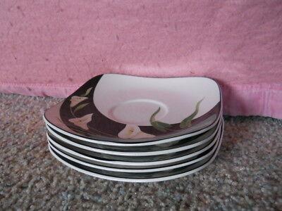 """5 SANGO QUADRILLE Black Lilies 6 1/2"""" Saucers Plates #5101 Semi Porcelain China"""
