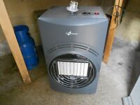 full size portable gas fire plus regulator and pipe
