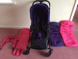 Icandy Raspberry black frame. 2x flavour packs 2x seat liner 2x footmuff 2x raincover