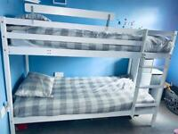 White Wooden Bunk bed wood bunkbed with 1 Mattress included