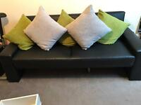 Black faux leather double sofa bed RRP £169.99
