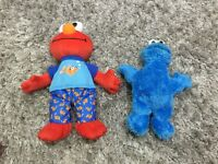 Bedtime talking and musical elmo and cookie monster plush toys