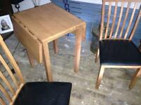 Small beech drop leaf table and 2 chairs