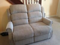 Two seater sofa plus two recliner chairs manual