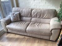 Cream Beige Stone 3 seater - Leather Sofa Settee - Could do with a clean!! £40