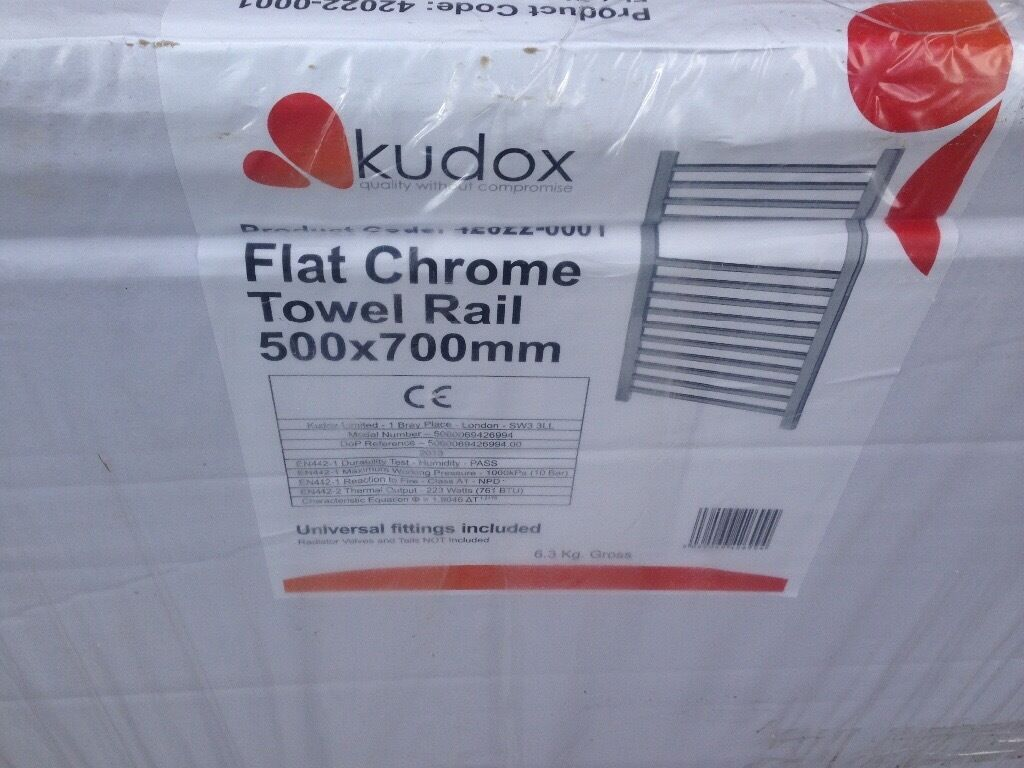 Kudox flat chrome towel rail 500x700mm