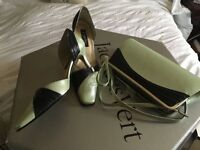 Pale green and navy size 7 shoes and bag