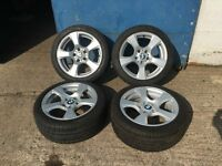 "BMW E92 17"" Alloy Wheels 3 Series Great Tyres E46 E36 E90 E91 E93 Coupe Compact 316 318 320 325"