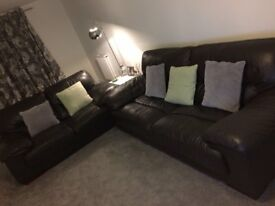 BROWN LEATHER 2 & 3 SEATER SOFAS FROM DFS