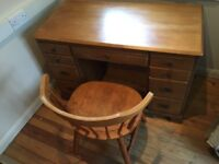 Solid child's desk and chair
