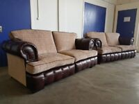 LEATHER & FABRIC SPLIT SOFA LOUNGE SUITE 2 SOFAS SET LEATHER & FABRIC CUSHIONS SEETTE CAN DELIVER