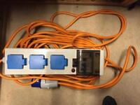 Portable hook up, RCD device with 3 sockets