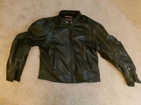 Motorcycle RST Leather jacket 3 zip pocket and padded all black