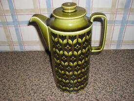 hornsea green heirloom coffee pot 1970,s